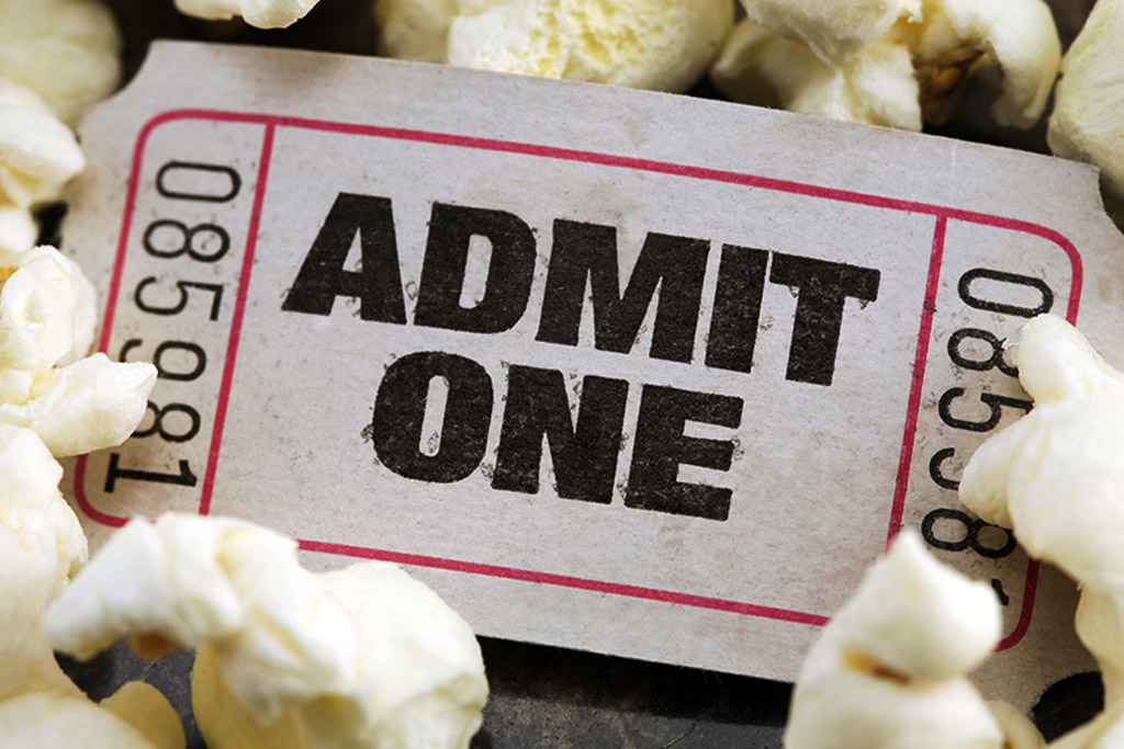 photo: admission ticket and popcorn