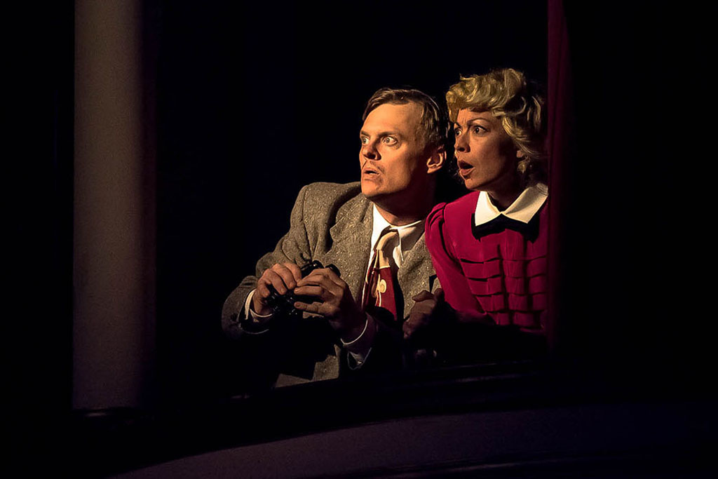 Photo from The 39 Steps (2016-17) - performers act startled