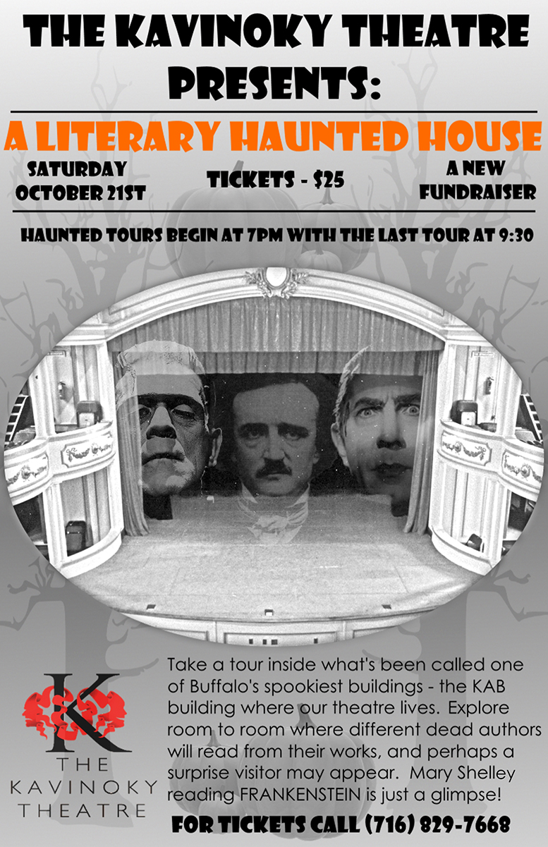 A poster for The Literary Haunted House features Frankenstein's monster and Edgar Allen Poe.